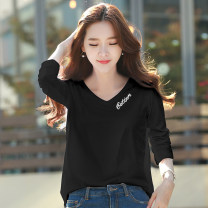 T-shirt Black white ginger Pink S M L XL 2XL Spring 2020 Long sleeves V-neck easy Regular routine commute cotton 86% (inclusive) -95% (inclusive) 18-24 years old Korean version youth letter Fajijin printing Cotton 95% polyurethane elastic fiber (spandex) 5%