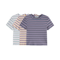 T-shirt Purple, Yellow + purple, white + purple Average size Summer 2021 Short sleeve Crew neck Straight cylinder have cash less than that is registered in the accounts routine commute cotton 96% and above Simplicity Thin horizontal stripe Other / other G2908