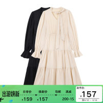 Dress Spring 2021 Black, apricot S, M longuette singleton  Long sleeves commute V-neck High waist Solid color Socket A-line skirt pagoda sleeve Others Type A Other / other Simplicity Lotus leaf edge MC21057 More than 95% other