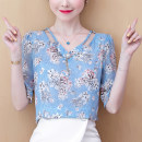 Lace / Chiffon Summer 2021 Blue, pink, collection gift (don't choose this one) S,M,L,XL,2XL Short sleeve Versatile Socket singleton  easy Super short V-neck Solid color Lotus leaf sleeve