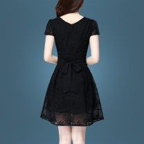 Dress Summer of 2018 Black [spot] white [spot] M L XL 2XL 3XL 4XL Middle-skirt singleton  Short sleeve commute V-neck middle-waisted other Socket A-line skirt routine Others 25-29 years old Type A Susie Li Korean version More than 95% other polyester fiber Polyester 100% Pure e-commerce (online only)