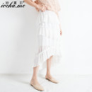 skirt Summer of 2019 S M L Black and white Mid length dress commute High waist Cake skirt Solid color Type A 18-24 years old MXE201932 Chiffon Miocha.mc/ Miaoshar Ruffle wave dovetail line decoration stitching 3D Korean version Exclusive payment of tmall