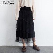 skirt Spring of 2019 Average size black Mid length dress Versatile High waist Cake skirt Solid color Type A 18-24 years old other Miocha.mc/ Miaoshar Pure e-commerce (online only) 201g / m ^ 2 (including) - 250G / m ^ 2 (including)