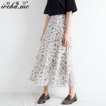 skirt Summer of 2019 S M L XL XXL Broken flowers Mid length dress fresh High waist Cake skirt Broken flowers Type A 18-24 years old Chiffon Miocha.mc/ Miaoshar Exclusive payment of tmall 101g / m ^ 2 (including) - 120g / m ^ 2 (including)