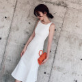Dress / evening wear Wedding, adulthood, party, company annual meeting, performance, routine, appointment XS,S,M,L White, black Korean version Medium length middle-waisted Summer of 2019 fish tail U-neck zipper polyester 18-25 years old Sleeveless Solid color Other / other other 96% and above