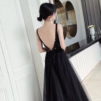 Dress / evening wear Wedding, adulthood, party, company annual meeting, performance, routine, appointment XS,S,M,L,XL black sexy longuette middle-waisted Autumn of 2019 Fall to the ground Deep collar V zipper Netting 18-25 years old Sleeveless Nail bead Solid color Other / other other 96% and above