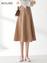 skirt Winter 2020 XS,S,M,L,XL,2XL Black, apricot Mid length dress commute High waist Pleated skirt Solid color Type A 18-24 years old 71% (inclusive) - 80% (inclusive) Kooge polyester fiber zipper Korean version