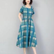 Dress Summer 2021 Jfl-4f080-b-947 blue jfl-4f080-b-947 Khaki L XL 2XL 3XL 4XL 5XL Mid length dress 30-34 years old Cause JFL-4F080-B-947 More than 95% other Other 100%