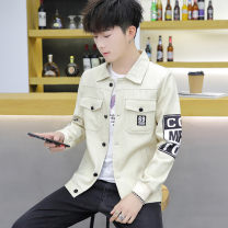 Jacket Wai San Youth fashion M L XL 2XL 3XL routine Self cultivation Other leisure spring Cotton 100% Long sleeves Wear out Lapel tide teenagers routine Zipper placket Straight hem washing Closing sleeve Geometric pattern Denim Spring of 2019 More than two bags) Side seam pocket