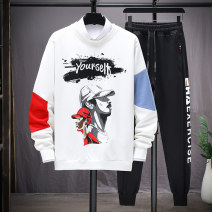 T-shirt Youth fashion routine XXL M L XL 3XL Wai San Long sleeves Crew neck Self cultivation daily spring WS-DS-6806 Cotton 70% polyester 26.7% polyurethane elastic fiber (spandex) 3.3% teenagers routine tide Cotton wool Spring 2021 Geometric pattern printing Cotton polyester Geometric pattern