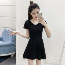 Dress Summer of 2019 Pink Black S M L XL XXL Short skirt singleton  Short sleeve commute V-neck High waist Solid color Socket A-line skirt routine Others 18-24 years old Type A Pamondo / pamondo Korean version Hollow stitching PMDB-96623# More than 95% brocade polyester fiber Other polyester 95% 5%