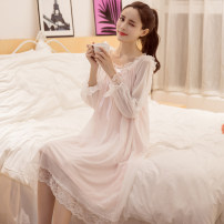 Nightdress Other / other Mbn-8808 # pink, mbn-8808 # white, mbn-8808 # pink with breast pad, mbn-8808 # white with breast pad, mbn-8812 # white, mbn-8812 # Pink S, m, l, XL Sweet Long sleeves Leisure home Middle-skirt summer Solid color youth Crew neck chemical fiber lace More than 95% Lace fabric