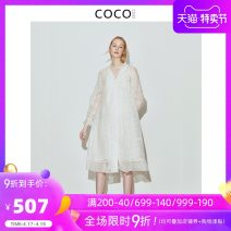 shirt white S M L XS XL Spring of 2018 cotton 71% (inclusive) - 80% (inclusive) Long sleeves commute Medium length V-neck Single row multi button Wrap sleeves Solid color 25-29 years old Straight cylinder COCOCOZI Korean version 181CP36 Three dimensional decorative button of Auricularia auricula