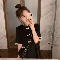 Dress Summer 2021 black S M L XL Middle-skirt singleton  Short sleeve commute middle-waisted Solid color Single breasted A-line skirt routine 18-24 years old Mumili Korean version MML-654 More than 95% polyester fiber Polyester 100% Pure e-commerce (online only)