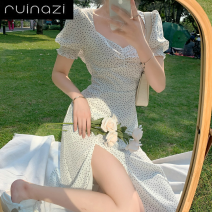 Dress Spring 2020 White polka dot skirt green cardigan S M L average code Mid length dress Two piece set Short sleeve commute V-neck High waist Dot other other puff sleeve 18-24 years old Ruinazi Retro 622462400844 Jbixt More than 95% other Triacetate fiber (triacetate fiber) 100%