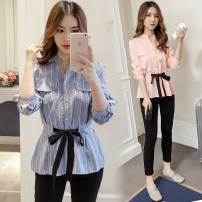 shirt Pink, blue XS,S,M,L,XL,2XL Spring of 2019 nylon 96% and above commute Regular other stripe 18-24 years old Straight cylinder Other / other Korean version