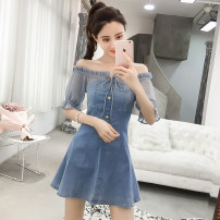 Dress Summer of 2019 White, blue XS,S,M,L,XL Middle-skirt singleton  Short sleeve commute One word collar High waist other Single breasted A-line skirt routine Others Type A Other / other Korean version 81% (inclusive) - 90% (inclusive)