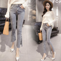 Jeans Spring of 2019 Picture color XS,S,M,L,XL Ninth pants High waist routine 18-24 years old Nail beads, washed Cotton denim light colour Other / other 81% (inclusive) - 90% (inclusive)