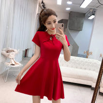 Dress Summer of 2019 Red, black XS,S,M,L,XL,2XL,3XL Short skirt singleton  Short sleeve commute other High waist Solid color Socket A-line skirt routine Others 18-24 years old Type A Other / other Korean version bow 81% (inclusive) - 90% (inclusive) other