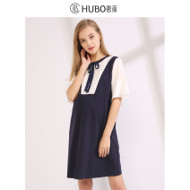Dress Huibao blue and white color M L XL XXL leisure time Short sleeve routine summer Crew neck Solid color viscose  E218Q310-2