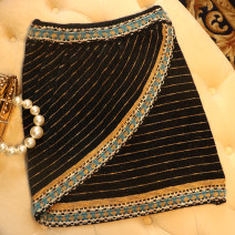 skirt Winter of 2019 S,M,L black Short skirt commute High waist A-line skirt stripe Type A K0856 Bright silk, embroidery, Gouhua, hollow out, asymmetric, bright line decoration ethnic style
