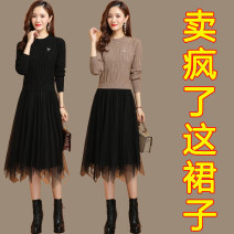Dress Autumn 2020 Blue black red camel grey purple apricot coffee big red M L XL 2XL Mid length dress Fake two pieces Long sleeves commute Crew neck High waist Solid color Socket A-line skirt routine 30-34 years old Clothes and benefits Korean version NhJ More than 95% knitting other Other 100.00%