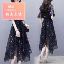 Dress Summer 2021 Night sky Chiffon Skirt S,XL,2XL,3XL,L,M Mid length dress singleton  elbow sleeve commute V-neck High waist Decor Socket Irregular skirt pagoda sleeve Others 25-29 years old One for one Printing, ruffle, stitching, three-dimensional decoration, 3D 51% (inclusive) - 70% (inclusive)