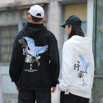 Sweater Youth fashion Big lazy Hall Black Beige M L XL 2XL 3XL Animal design Socket routine Hood autumn easy leisure time youth Chinese style routine Fleece  Cotton 100% Embroidery No iron treatment Autumn of 2019 Kangaroo pocket Pure e-commerce (online only) Chinese style