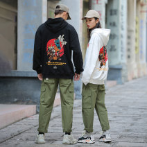Sweater Youth fashion Big lazy Hall Black Beige M L XL 2XL 3XL Animal design Socket routine Hood autumn easy leisure time youth Japanese Retro routine JW10 Fleece  Cotton 100% Embroidery Autumn of 2019 Kangaroo pocket Pure e-commerce (online only) Other styles