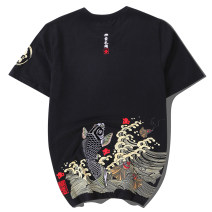 T-shirt Youth fashion Black and white routine M L XL 2XL 3XL 4XL Big lazy Hall Short sleeve Crew neck standard daily summer Cotton 100% teenagers routine Chinese style Knitted fabric Summer of 2018 Animal design Embroidery cotton Animal design washing Fashion brand Pure e-commerce (online only)