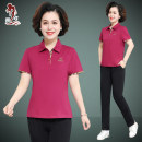 Middle aged and old women's wear Summer of 2018 motion T-shirt easy singleton  50-59 years old Socket thin stand collar routine cotton Cotton 95% polyurethane elastic fiber (spandex) 5% 91% (inclusive) - 95% (inclusive) Pure e-commerce (online only)