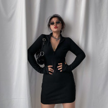 Dress Autumn 2020 [spot] black, [pre-sale 7-15 days] black S,M,L,XL Short skirt singleton  Long sleeves street V-neck High waist Solid color routine Others 18-24 years old LT-78-72 51% (inclusive) - 70% (inclusive) other other