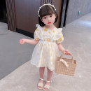 Dress Summer 2021 yellow 90, 100, 110, 120, 130 Middle-skirt Two piece set Short sleeve Sweet Crew neck middle-waisted Decor zipper A-line skirt puff sleeve Others Under 17 Type A Other / other 81% (inclusive) - 90% (inclusive) brocade cotton Countryside