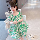 Dress Summer 2021 Green flowers 80, 90, 100, 110, 120, 130 Mid length dress singleton  Short sleeve commute One word collar middle-waisted Decor Socket Princess Dress puff sleeve Others Under 17 Type A Other / other Korean version 81% (inclusive) - 90% (inclusive) brocade cotton