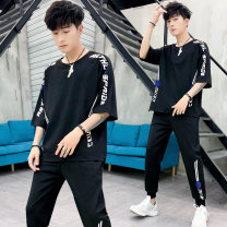 Leisure sports suit summer M L XL 2XL 3XL Gear white gear black diagonal splicing upper white lower black diagonal splicing upper black lower red diagonal splicing upper red lower black Paris white Paris black Paris blue elbow sleeve Extreme crest trousers teenagers T-shirt JD - -328 other