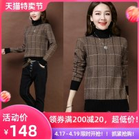 sweater Winter of 2018 S M L XL XXL XXXL Long sleeves Socket singleton  have cash less than that is registered in the accounts other 95% and above Half high collar thickening commute routine lattice Straight cylinder Fine wool Keep warm and warm Ruli Splicing Other 100% Pure e-commerce (online only)
