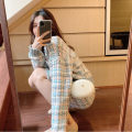 Dress Winter of 2019 Plaid Top + skirt S M L XL Mid length dress Two piece set Long sleeves commute Crew neck High waist Solid color Socket A-line skirt routine Others 18-24 years old Type A Dream of clothes Korean version More than 95% polyester fiber Polyester 100% Pure e-commerce (online only)