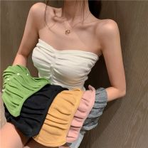 Vest sling Summer 2020 White yellow gray 30 days delivery S M singleton  have cash less than that is registered in the accounts Self cultivation Solid color 18-24 years old 31% (inclusive) - 50% (inclusive) cotton Andy Elastic cotton 40% polyester 30% polyurethane Pure e-commerce (online only)