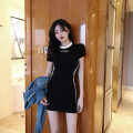 Dress Summer of 2019 Black long sleeve grey Short Sleeve Black Short Sleeve White Long Sleeve White Short Sleeve Plush black long sleeve S M L XL Short skirt singleton  commute Crew neck High waist Solid color Socket A-line skirt routine 18-24 years old Andy Korean version cotton