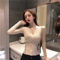sweater Autumn of 2019 S M L Apricot black Long sleeves Socket singleton  Regular cotton 31% (inclusive) - 50% (inclusive) V-neck Regular commute routine Solid color Self cultivation Regular wool Keep warm and warm 18-24 years old Andy nylon Elastic cotton 40% polyester 30% polyurethane flannelette