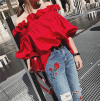 Lace / Chiffon Spring of 2019 gules S M L elbow sleeve commute Socket singleton  Straight cylinder Regular One word collar Solid color bishop sleeve 25-29 years old Andy Resin fixation of Ruffle Korean version 30% and below Polyethylene terephthalate (polyester) 60% cotton 40% cotton