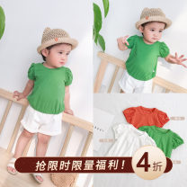 T-shirt Green spot CookiesBaby Size 73, 80, 90, 100, 110, 120 female Short sleeve Crew neck There are models in the real shooting cotton Solid color Cotton 95% polyurethane elastic fiber (spandex) 5% N254 other 12 months, 18 months, 2 years old, 3 years old, 4 years old, 5 years old