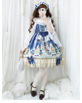 Dress Summer of 2019 Sleeveless Sweet Crew neck High waist Decor Socket Princess Dress Princess sleeve camisole Type A 30% and below Chiffon Lolita