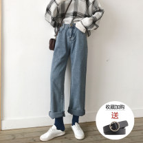 Jeans Autumn of 2019 XS S M L XL 2XL 3XL 4XL 5XL trousers High waist Wide legged trousers routine 18-24 years old Wash zipper button Multi Pocket other Cotton denim Dark color HAOALL 96% and above Cotton 98% other 2% Pure e-commerce (online only)