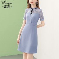 Dress Summer 2021 blue S M L XL XXL XXXL Middle-skirt singleton  Short sleeve commute stand collar middle-waisted Solid color zipper A-line skirt routine 35-39 years old Type A Lei CAI Ol style Lace up three-dimensional decorative lace up button printing split L21XL34452 More than 95% polyester fiber