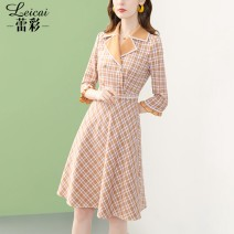 Dress Spring 2021 Check S M L XL XXL XXXL Middle-skirt singleton  three quarter sleeve commute tailored collar middle-waisted lattice zipper A-line skirt routine 35-39 years old Type A Lei CAI Ol style Three dimensional decorative button with bright silk stitching L21CL34081 More than 95%