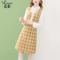 Dress Autumn 2020 yellow S M L XL XXL XXXL Middle-skirt Fake two pieces Long sleeves commute Doll Collar middle-waisted lattice zipper A-line skirt routine 35-39 years old Type A Lei CAI Ol style Flounce cut-out inlaid with diamond lace stitching three-dimensional decorative bead button zipper