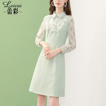 Dress Spring 2021 green S M L XL XXL XXXL Middle-skirt singleton  Long sleeves commute Polo collar middle-waisted Solid color zipper A-line skirt routine 35-39 years old Type A Lei CAI Ol style Three dimensional decorative button with ruffle stitching and zipper split L21CL34007 polyester fiber