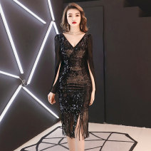 Dress / evening wear Company annual meeting performance XS S M L XL XXL Dzm0314 black medium long dzm0314 gold medium long dzm0314 champagne medium long Korean version Medium length middle-waisted Spring of 2019 Self cultivation Deep collar V zipper 18-25 years old MYX17C0314 three quarter sleeve