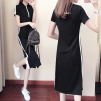 Dress Summer of 2019 black S M L XL XXL longuette singleton  Short sleeve commute Crew neck High waist Solid color Socket One pace skirt routine Others 25-29 years old Type A Cobh  Korean version lyb0258 More than 95% cotton Cotton 95% polyurethane elastic fiber (spandex) 5%